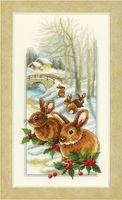 "Вышивка крестом ""Кролики на снегу"" (180x330 мм; арт. 0150174-PN)"