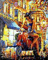 "Картина по номерам ""Девушка на мотороллере"" (400х500 мм)"