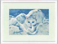 """Вышивка крестом """"Белый кот"""" (208x308 мм)"""