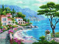 """Алмазная вышивка-мозаика """"Средиземноморский залив"""" (300х400 мм)"""