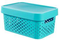 Ящик для хранения с крышкой (4,5 л; синий перфорированный)