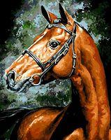 """Картина по номерам """"Ахалтекинская лошадь"""" (400х500 мм)"""