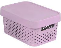 Ящик для хранения с крышкой (4,5 л; розовый перфорированный)