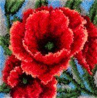 """Вышивка в ковровой технике """"Коврик. Красные маки"""""""