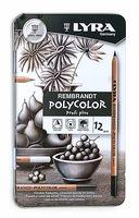 """Карандаши серых тонов """"LYRA REMBRAND Polycolor"""" (12 цветов)"""