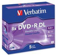 Диск DVD+R Double Layer 8.5Gb 8x Verbatim (в упаковке 5 штук)