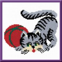 """Вышивка крестом """"Кошка серая"""" (150x180 мм)"""
