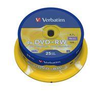 Диск DVD+RW 4.7Gb 4x Verbatim CakeBox 25