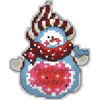 "Вышивка крестом ""Брелок. Снеговик"" (80 мм)"