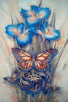 """Вышивка крестом """"Бабочки и ирисы"""" (255x360 мм)"""