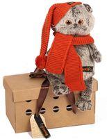 """Мягкая игрушка """"Басик в вязаной шапке и шарфе"""" (25 см)"""