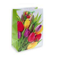 """Пакет бумажный подарочный """"Тюльпаны"""" (23x18x10 см)"""