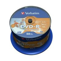 Диск DVD-R 4.7Gb 16x Wide Inkjet Printable No ID Brand CakeBox 50