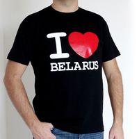 """Футболка мужская """"I love Belarus"""" (S; черная)"""