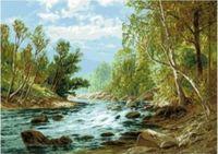 """Канва с нанесенным рисунком """"Речка в лесу"""""""