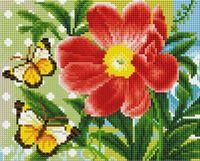 "Алмазная вышивка-мозаика ""Бабочки и цветок"" (200х250 мм)"