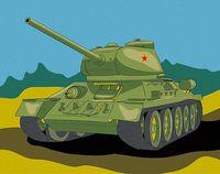 "Картина по номерам ""Танк Т-34"" (165х130 мм)"