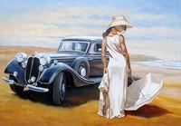 """Картина по номерам """"Девушка с машиной"""" (400х500 мм)"""
