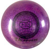 Мяч для художественной гимнастики RGB-102 (19 см; фиолетовый с блёстками)