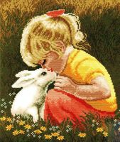Вышивка девочка с кроликом