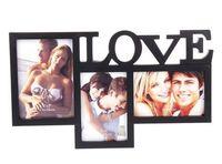 Рамка для фото пластмассовая на 3 фото ''Love'' (39х23 см)
