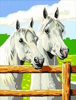 "Картина по номерам ""Пара белых лошадей"" (300х400 мм)"