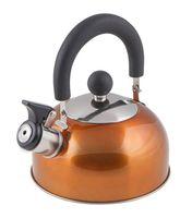 Чайник металлический со свистком (1,2 л; оранжевый металлик)