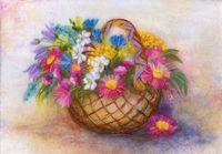 """Картина из шерсти """"Корзина с цветами"""""""