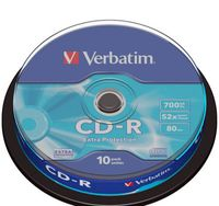 Диск CD-R 700Mb 52x Verbatim Extra Protection CakeBox 10