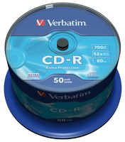 Диск CD-R 700Mb 52x Verbatim Extra Protection CakeBox 50