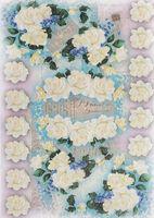 """Бумага для декупажа рисовая """"Белые розы ассорти"""" (210х300 мм)"""