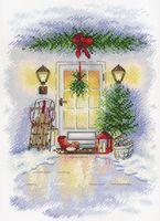"""Вышивка крестом """"Новогодняя дверь"""" (250x180 мм)"""