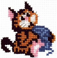 "Вышивка крестом ""Кошка с клубочком"" (80x80 мм)"