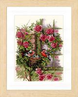 """Вышивка крестом """"Гнездящиеся птицы на плетистой розе"""" (290х390 мм)"""