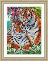 """Вышивка бисером """"Тигры"""" (280х380 мм)"""