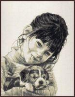 """Вышивка крестом """"Девочка со щенком"""""""