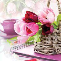 """Вышивка крестом """"Тюльпаны в корзине"""" (500х500 мм)"""