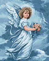 """Алмазная вышивка-мозаика """"Ангел с цветами"""" (380х480 мм)"""