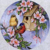 """Канва с нанесенным рисунком """"Птичий домик"""""""