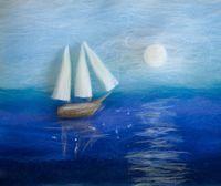 "Картина из шерсти ""Корабль в море"""