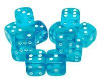 """Набор кубиков D6 """"Прозрачный"""" (12 мм; 12 шт.; аква)"""