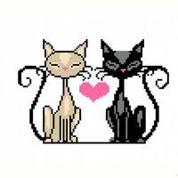"""Вышивка крестом """"Влюбленные коты"""""""