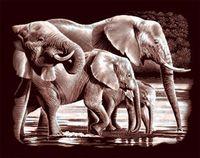 """Гравюра """"Слоны на водопое"""" (медь)"""
