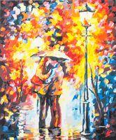"""Картина по номерам """"Поцелуй под дождем"""" (400х300 мм)"""
