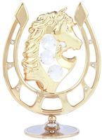 """Миниатюра """"Лошадь в подкове"""" (золотистого цвета с бесцветными кристаллами)"""