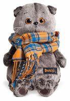 """Мягкая игрушка """"Басик и шарф в клеточку"""" (19 см)"""