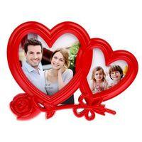 """Рамка пластмассовая """"Сердце с розой"""" на 2 фото (6х6 см, 15х15 см; арт. 10989640)"""