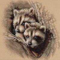 """Вышивка крестом """"Два малыша-енота"""" (арт. DMS-35253)"""
