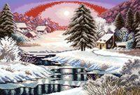 "Канва с нанесенным рисунком ""Зима в деревне"" (арт. А-1069)"