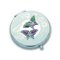 """Зеркало карманное со стразами """"Бабочки"""""""